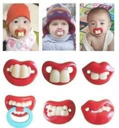 Chupeta divertida bebê bigode beijo vampiro menino e menina