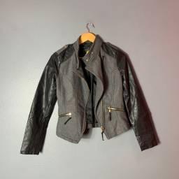 Jaqueta de Couro e Lã Batida