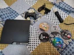 console playstation 3 250GR com controle e jogos