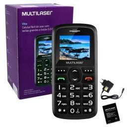 Celular Para Idoso Vita Multilaser p9120 Botão SOS Lanterna Mp3 Radio Fm Câmera