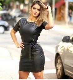 c80d2304e Vestido Feminino Curto Couro Ecológico Moda Outono Inverno 2019 NOVO
