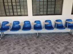 Longarina 7 cadeiras cadeira universitarias com prançha com braço