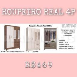 Título do anúncio: GUARDA ROUPA REAL 4 PORTAS SOLTEIRO