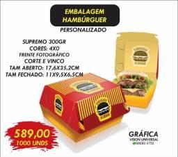 1000 caixas de hambúrguer 589,00 caixas de batata saco kraft panfletos