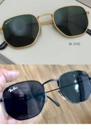 Óculos de sol hexagonal  Ray ban preto  e dourado feminino masculino