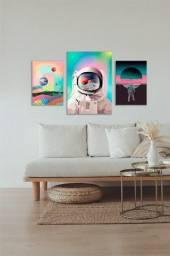 Kit de composição ilustração astronauta quadros em MDF decorativo para sala e quarto