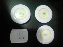 Título do anúncio: Kit 3 lampadas luminarias led com controle sem fio semi nova