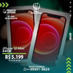 IPHONE 12 MINI LACRADO+GARANTIA, 365 DIAS ( CORES: RED, BLUE, GREEN OU BLACK )