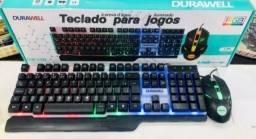 Kit Teclado Semi Mecânico Gamer Mouse Led