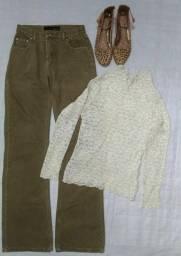 Título do anúncio: Calça Flare (36), Blusa longa renda (M) e Sapatilha (37)