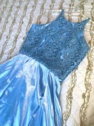 Vestido longo de festa azul bebê