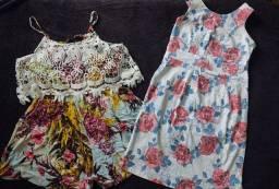 Kit vestido florido + macaquinho florido