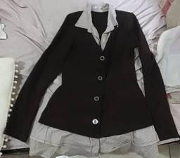 Título do anúncio: Vestido manga longa, curto, de cor marrom para dias frio.