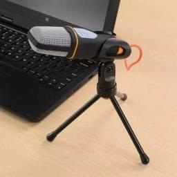 Microfone Condensador Com Tripe Para Gravaçao Profissional Para Pc E Notebook Preto
