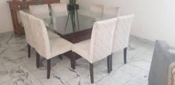 Mesa de Jantar Quadrada Sem Cadeiras Sylvia Design em Madeira / Vidro Marrom