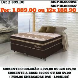 Título do anúncio: Conjunto Box Mola Ensacada D45 Queen- Cama Casal-Colchões+Base-Saldão MS