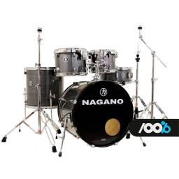 "Bateria Nagano Garage Rock 22/10/12/16/CX14x6,5"" Vintage Stripe Com Ferragens"