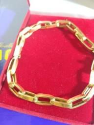 Título do anúncio: Pulseira elos duplo ouro 18 K - Peso 8.00 Gramas / 6 mm / 22 Cm=