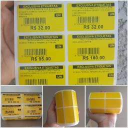2 rolo 50x30 (5x3) etiqueta adesiva amarela com 2.000 un por rolo papel couche.
