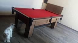 Mesa de Bilhar Cor Imbuia Tecido Vermelha Mod. UTOD4709