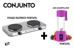 Kit Fogão Elétrico Portátil 2 bocas + Liquidificador Portatil Promoção