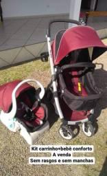 Kit carrinho+bebê conforto+base para o carro
