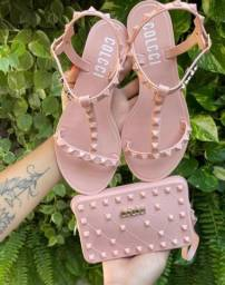 Conjunto de sandália e bolsa colcci
