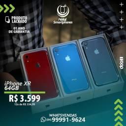 IPHONE XR ( LACRADO ) - COM GARANTIA ( CAPACIDADE: 64GB - TODAS AS CORES