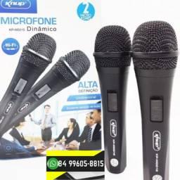 ®Microfone Com Fio Duplo Profissional Modelo Kp-m0015