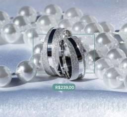 Aliança prata legítima 950 lateral diamantada
