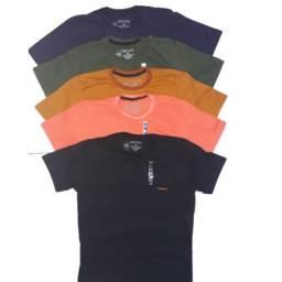 Kit com 5 camisas masculinas básicas de algodão.