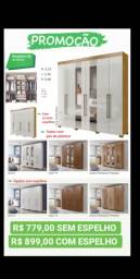 Guarda roupa 6 portas com pés e com espelho - Ita