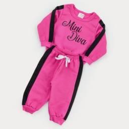 Conjunto moletom mini diva para bebê menina