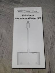 Adaptador (Iphone) 10 x cartão. Lightning para USB e SD card.