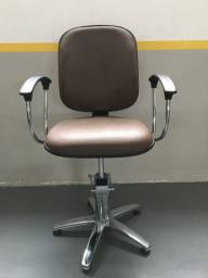Cadeira Cabeleireiro Marrom Hidráulica