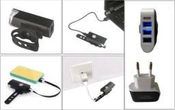 Kit Farol de Bicicleta Led + Carregador USB Novo