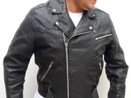Título do anúncio: Jaqueta Clássica Motoqueiro Volutti Couro Legítimo Masculino