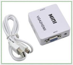 Título do anúncio: Conversor VGA com Áudio para HDMI. NOVO