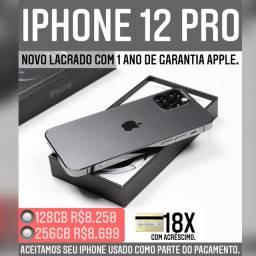 iPhone 12 pro 128gb novo lacrado com 1 ano de garantia Apple. Somos loja