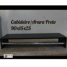Cabideiro Arara Parede MDF Preto 90cm - RMOB