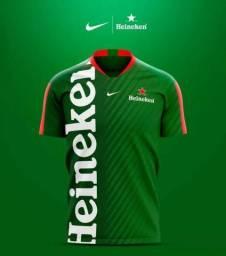 Camiseta Cerveja Heineken Estampa Estilo Futebol (P,M,G,GG)