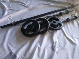 kit novo 20kg barras e anilhas