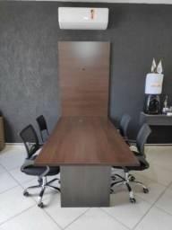 Título do anúncio: Mesa de Reuniões 200x100 com Painél para Televisão - Em MDF - TreeMobili