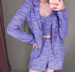 Blazer tweed rosa e azul violeta