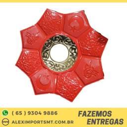 Comercio prato vermelho com detalhes dourado otimo acabamento