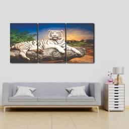 Quadro Triplo Tigre Branco