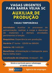 5 Vagas - Auxiliar de Produção - Barra Velha
