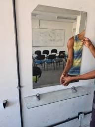 Bancada cabeleireiro prateleira espelho