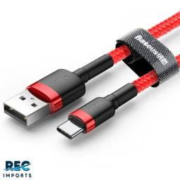 Cabo USB Tipo C Baseus Cafule Reforçado Turbo Quick Charge 3.0a 50cm