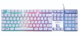 Teclado Gamer Semi Mecânico RGB Prismatic TC205 Oex Branco